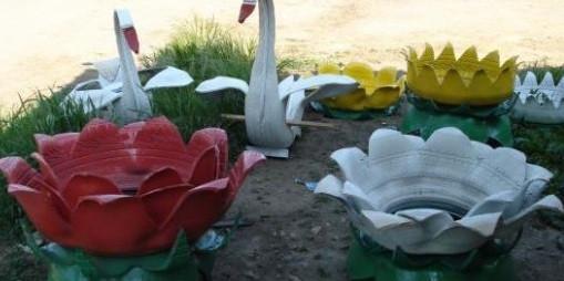 В Новокузнецке хотят запретить украшать дворы композициями из шин и пластика