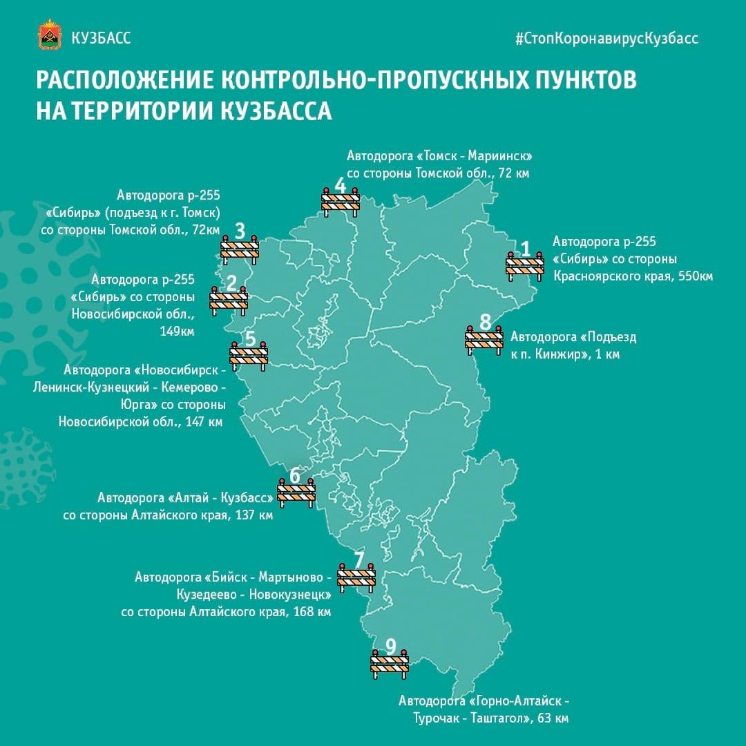 Все въезжающие в Кузбасс проходят проверку на КПП