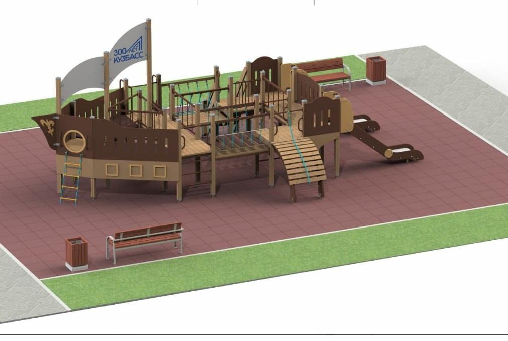 100 детских площадок–«кораблей» установят в Кузбассе этим летом