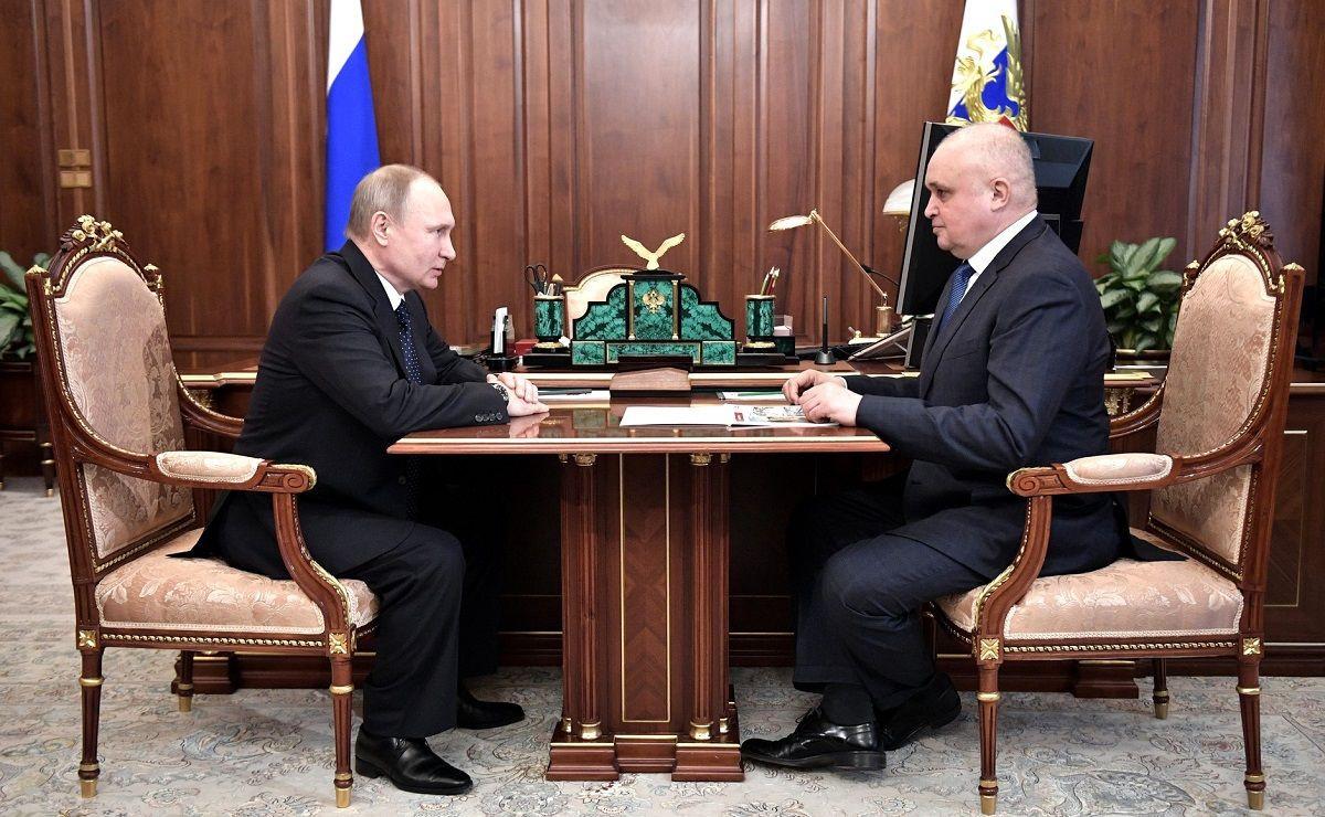 Президент РФ Владимир Путин встретился с врио губернатора Кемеровской области Сергеем Цивилевым