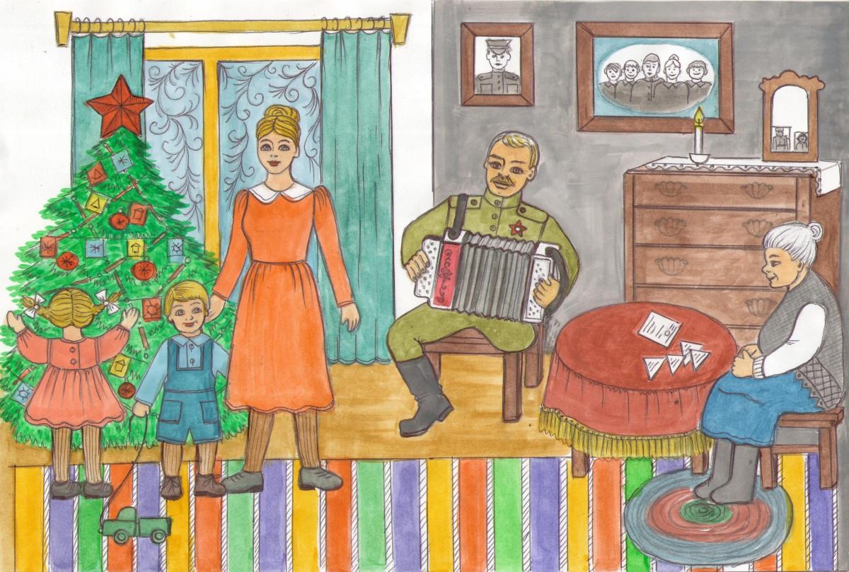 Рисунок 11-летней прокопчанки украсит новогоднюю открытку из коллекционной серии «Елка Победы»